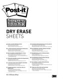 Post-it Super Sticky Dry Erase Sheets 279x390mm